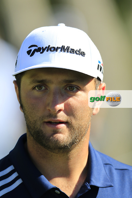 Jon Rahm (ESP) walks off the 16th green at Pebble Beach course during Friday's Round 2 of the 2018 AT&amp;T Pebble Beach Pro-Am, held over 3 courses Pebble Beach, Spyglass Hill and Monterey, California, USA. 9th February 2018.<br /> Picture: Eoin Clarke   Golffile<br /> <br /> <br /> All photos usage must carry mandatory copyright credit (&copy; Golffile   Eoin Clarke)