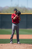 Arizona Diamondbacks relief pitcher Jhoan Duran (36) looks to his catcher for the sign during a Spring Training game against Meiji University at Salt River Fields at Talking Stick on March 12, 2018 in Scottsdale, Arizona. (Zachary Lucy/Four Seam Images)