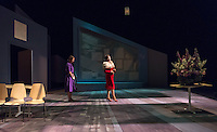 """Dress rehearsal in Keck Theater for """"Dead Man's Cell Phone"""" by Sarah Ruhl, directed by Culley Guest Artist Larry Biederman. Starring Grace West '16, Amanda Wagner '16, Cooper Raiff '19, Kylie Brakeman '18 and Hazel Hering '18.<br /> (Photo by Marc Campos, Occidental College Photographer)"""