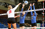 BROOKINGS, SD - SEPTEMBER 4:  Sierra Peterson #1 and Nazya Thies #6 from South Dakota State try for a block against Erica Haslag #3 from Bradley in their match Sunday afternoon at Frost Arena in Brookings. (Photo by Dave Eggen/Inertia)
