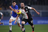 Gonzalo Higuain of Juventus and Alex Ferrari of Sampdoria during the Serie A match at Luigi Ferraris, Genoa. Picture date: 18th December 2019. Picture credit should read: Jonathan Moscrop/Sportimage PUBLICATIONxNOTxINxUK SPI-0378-0002<br /> Sampdoria - Juventus  <br /> Photo Jonathan Moscrop / Sportimage / Imago / Insidefoto