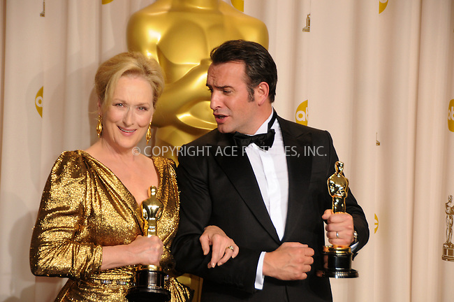 WWW.ACEPIXS.COM . . . . .  ....February 26 2012, LA....Actors Meryl Streep and Jean Dujardin in the press room at the 84th Annual Academy Awards at the Hollywood & Highland Center on February 26, 2012 in Hollywood, California. ....Please byline: PETER WEST - ACE PICTURES.... *** ***..Ace Pictures, Inc:  ..Philip Vaughan (212) 243-8787 or (646) 769 0430..e-mail: info@acepixs.com..web: http://www.acepixs.com
