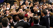 United Staes President Barack Obama greets students after laying out an energy policy during a speech at Georgetown University in Washington on March 30, 2011. Obama said he wants the U.S. to reduce oil imports by a third in the next 10 years. .Credit: Roger L. Wollenberg / Pool via CNP