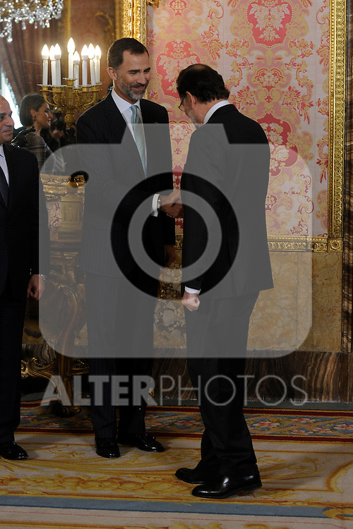 King Felipe IV and Queen of Spain Letizia receive the Prime Minister of the Republic of Egypt Abdel Fattah Al Sisi at Royal Palace in Madrid, Spain. April 30, 2015. (ALTERPHOTOS/POOL/RICARDO GARCIA)
