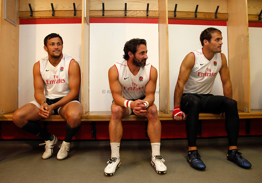 Photo: Richard Lane/Richard Lane Photography. .Emirates Airline Media training day with the England Sevens team at Twickenham. 13/05/2011. England Sevens players (lt to rt) Chris Cracknell , Ben Gollings and Greg Barden in the changing room.
