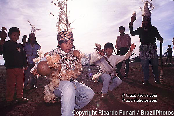 Brazil. Religious cerimony. Guarani Kaiowá indigenous people traditional dance. Recovering of traditional land.