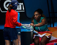 15th January 2019, Melbourne Park, Melbourne, Australia; Australian Open Tennis, day 2; Serena Williams of USA looks during the match  against Tatjana Maria of Germany
