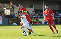 Partizan Belgrade's Zoran Tosic under pressure from Connah's Quay Nomads' George Horan<br /> <br /> Photographer Kevin Barnes/CameraSport<br /> <br /> UEFA Europa League 2nd Qualifying Round 1st Leg - Connah's Quay Nomads v Partizan Belgrade - Thursday July 25th 2019 - Belle Vue Stadium - Rhyl<br />  <br /> World Copyright © 2019 CameraSport. All rights reserved. 43 Linden Ave. Countesthorpe. Leicester. England. LE8 5PG - Tel: +44 (0) 116 277 4147 - admin@camerasport.com - www.camerasport.com