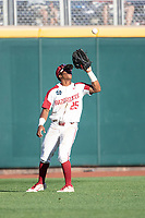 Arkansas Razorbacks outfielder Christian Franklin (25) makes a catch during Game 2 of the NCAA College World Series against the Florida State Seminoles on June 15, 2019 at TD Ameritrade Park in Omaha, Nebraska. Florida State defeated Arkansas 1-0. (Andrew Woolley/Four Seam Images)
