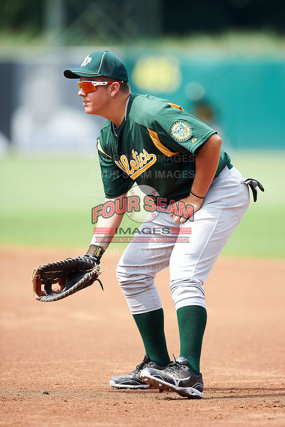 Nicholas Yarnall #40 of Hempfield High School in Landisville, Pennsylvania playing for the Oakland Athletics scout team during the East Coast Pro Showcase at Alliance Bank Stadium on August 1, 2012 in Syracuse, New York.  (Mike Janes/Four Seam Images)