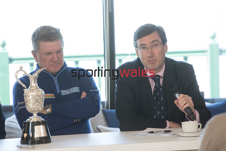 The Senior Open Championship Presented by Rolex Media Day.<br /> Defending Champion Paul Broadhurst and David Meacher from the R&A Championship Committee speaking to the media.<br /> Royal Porthcawl<br /> 26.04.17<br /> ©Steve Pope - Sportingwales