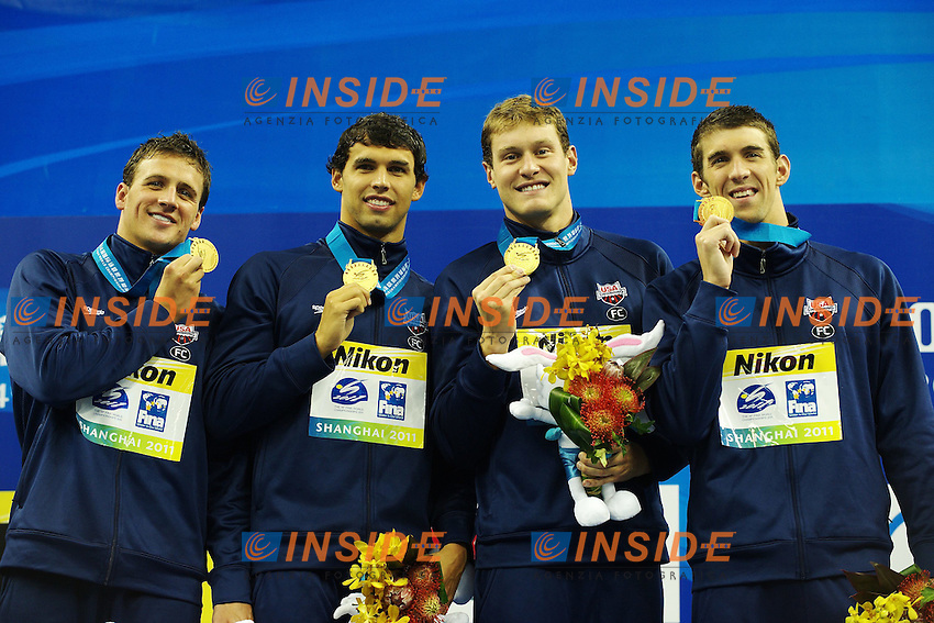 USA Gold Medal.Men's 4x200m Freestyle - Swimming / Nuoto.Shanghai 29/7/2011 .14th FINA World Championships.Foto Giorgio Scala Insidefoto