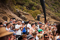 BELLS BEACH, Victoria/Australia (Friday, April 6, 2012) &ndash;The crowd, acknowledging the memory of MP with a standing ovation before the final of the event between Kelly Slater and Mick Fanning. The Rip Curl Pro Bells Beach - Dedicated to the memory of former three times winner Michael Peterson (AUS) wrapped up today with clean four-to-six foot (1.5 &ndash; 2 metre) waves steaming through Rincon and the Bells Bowl.<br /> Mick Fanning (AUS) defeated 11 times world champion Kelly Slater (USA) in the final to claim his second Bells Bell. Joel Parkinson (AUS) and Jeremy Flores (FRA) were + 3rd.<br />  <br /> The second stop on the 2012 ASP World Championship Tour, the Rip Curl Pro Bells Beach will took advantage of today&rsquo;s conditions,  crowning a men&rsquo;s champ by day&rsquo;s end.<br />  Photo: joliphotos.com