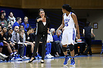 17 November 2016: Duke head coach Joanne P. McCallie (left) gives instructions to Kyra Lambert (15). The Duke University Blue Devils hosted the Grand Canyon University Antelopes at Cameron Indoor Stadium in Durham, North Carolina in a 2016-17 NCAA Division I Women's Basketball game. Duke won the game 90-47.