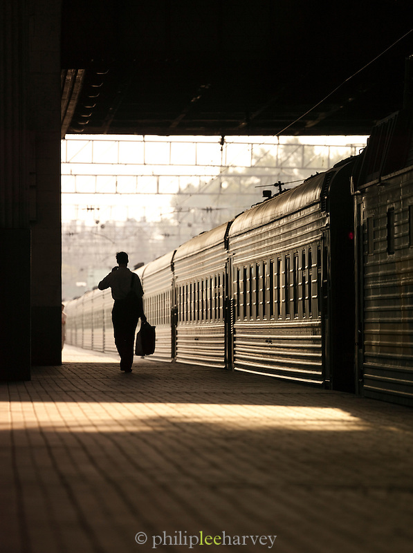 Commuter at the Belorusskaya Station, Moscow, Russia