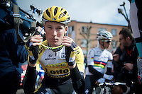 Mike Teunissen (NLD/LottoNL-Jumbo) at the start (with the World Champion behind him)<br /> <br /> 79th Fl&egrave;che Wallonne 2015