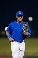 AZL Cubs right fielder Nelson Velazquez (20) jogs off the field between innings of the game against the AZL Diamondbacks on August 11, 2017 at Sloan Park in Mesa, Arizona. AZL Cubs defeated the AZL Diamondbacks 7-3. (Zachary Lucy/Four Seam Images)