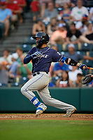 Binghamton Rumble Ponies catcher Ali Sanchez (20) at bat during an Eastern League game against the Richmond Flying Squirrels on May 29, 2019 at The Diamond in Richmond, Virginia.  Binghamton defeated Richmond 9-5 in ten innings.  (Mike Janes/Four Seam Images)