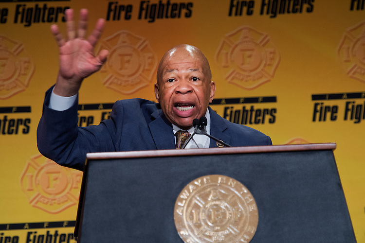 UNITED STATES - MARCH 09: Rep. Elijah Cummings, D-Md., speaks during the International Association of Fire Fighters Legislative Conference General Session at the Hyatt Regency on Capitol Hill, March 9, 2015. The day featured addresses by members of Congress and Vice President Joe Biden. (Photo By Tom Williams/CQ Roll Call)