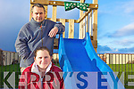 ON THE SLIDE: Teachers Ben Perkins and Maura O'Sullivan checking out some of the new playground equipment at Killahan national school ahead of a poker classic fundraiser for the school.