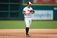 Sam Houston State Bearkats third baseman Chase Cryer (15) on defense against the Vanderbilt Commodores in game one of the 2018 Shriners Hospitals for Children College Classic at Minute Maid Park on March 2, 2018 in Houston, Texas. The Bearkats walked-off the Commodores 7-6 in 10 innings.   (Brian Westerholt/Four Seam Images)
