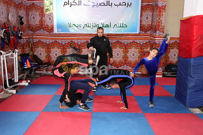 Palestinian children show their skills at the Palestinian Athletics Center for Martial Arts and Fitness in Gaza City, on February 7, 2019. Photo by Mahmoud Ajjour