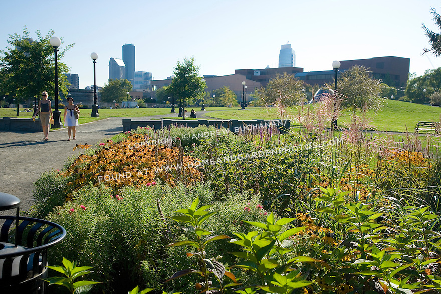A mixed border of flowers grows next to the path in an urban park.