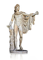 2nd century AD Roman statue of Apollo known as the Belvederre Apollo. The Apollo statue originally had a bow in its left hand and Apollo is depiceted having just fired an arrow.  Probably a Roman copy of a Hellenistic statue from around 330-320 BC by Leochares. Inv 1015, Vatican Museum Rome, Italy,  white background