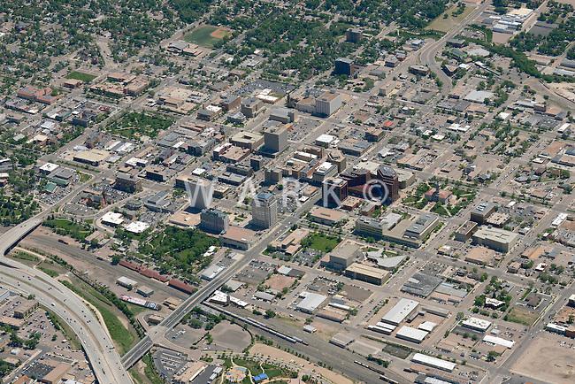 Aerial of downtown Colorado Springs, Colorado. June 2014. 85576