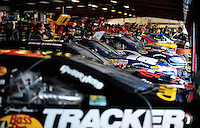 Apr 24, 2009; Talladega, AL, USA; NASCAR Sprint Cup Series drivers in the garage during practice for the Aarons 499 at Talladega Superspeedway. Mandatory Credit: Mark J. Rebilas-