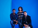 LOS ANGELES, CA - March 3: Left to right, Malachi Kirby, Anika Noni Rose, and Rege-Jean Page co-star in History Channel's new adaptation of Alex Haley's 1977 miniseries of the same title, chronicling the history of an African slave sold to America and his descendants. Kirby plays Kunta Kinte, a character originally played by LeVar Burton who now fills the role of executive producer. (Photo by Brinson+Banks)