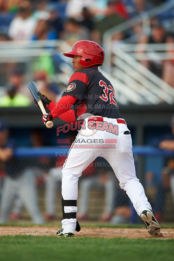 Batavia Muckdogs right fielder Jhonny Santos (32) during a game against the State College Spikes on June 22, 2016 at Dwyer Stadium in Batavia, New York.  State College defeated Batavia 11-1.  (Mike Janes/Four Seam Images)