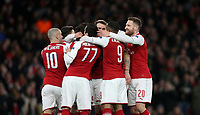 Arsenal's Aaron Ramsey is congratulated after scoring his side's first goal<br /> <br /> Photographer Rob Newell/CameraSport<br /> <br /> UEFA Europa League Quarter-Final First Leg - Arsenal v CSKA Moscow - Thursday 5th April 2018 - The Emirates - London<br />  <br /> World Copyright &copy; 2018 CameraSport. All rights reserved. 43 Linden Ave. Countesthorpe. Leicester. England. LE8 5PG - Tel: +44 (0) 116 277 4147 - admin@camerasport.com - www.camerasport.com