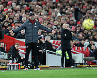 2nd January 2020; Anfield, Liverpool, Merseyside, England; English Premier League Football, Liverpool versus Sheffield United; Liverpool manager Jurgen Klopp reacts to the action from the touchline - Strictly Editorial Use Only. No use with unauthorized audio, video, data, fixture lists, club/league logos or 'live' services. Online in-match use limited to 120 images, no video emulation. No use in betting, games or single club/league/player publications
