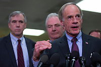United States Senator Tom Carper (Democrat of Delaware) speaks to members of the media following a closed door briefing in the Senate SCIF with United States Secretary of State Mike Pompeo, United States Secretary of Defense Dr. Mark T. Esper, Gina Haspel, Director, Central Intelligence Agency (CIA), United States Army General Mark A. Milley, Chairman of the Joint Chiefs of Staff, and Acting Director of Intelligence Joseph Maguire at the United States Capitol in Washington D.C., U.S., on Wednesday, January 8, 2020.  97 senators were said to have attended the briefing, which discussed the U.S. drone strike on Iranian military leader Qasem Soleimani and the issue of Congressional authorization for such acts.<br /> <br /> Credit: Stefani Reynolds / CNP/AdMedia