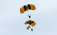 BALTIMORE, MD - MAY 20: The U.S. Army Golden Knights parachute down on Preakness Stakes Day at Pimlico Race Course on May 20, 2017 in Baltimore, Maryland.(Photo by Sue Kawczynski/Eclipse Sportswire/Getty Images)