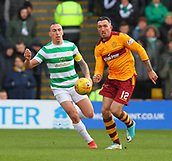 18th March 2018, Fir Park, Motherwell, Scotland; Scottish Premiership football, Motherwell versus Celtic;  Scott Brown beaten by the run from Ryan Bowman