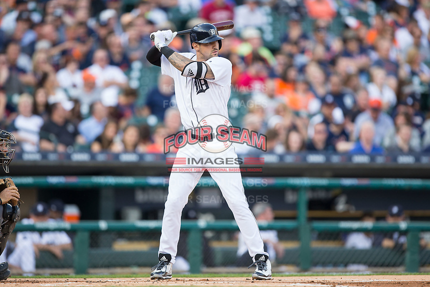Nick Castellanos (9) of the Detroit Tigers at bat against the Chicago White Sox at Comerica Park on June 2, 2017 in Detroit, Michigan.  The Tigers defeated the White Sox 15-5.  (Brian Westerholt/Four Seam Images)