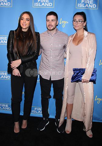 "NEW YORK, NY April 20, 2017 Samantha Giancola, Vinny Guadagnino, Jenni ""JWOWW"" Farley attend Logo's Fire Island Premiere Party  at Atlas Social Club  in New York April 20,  2017. Credit:RW/MediaPunch"