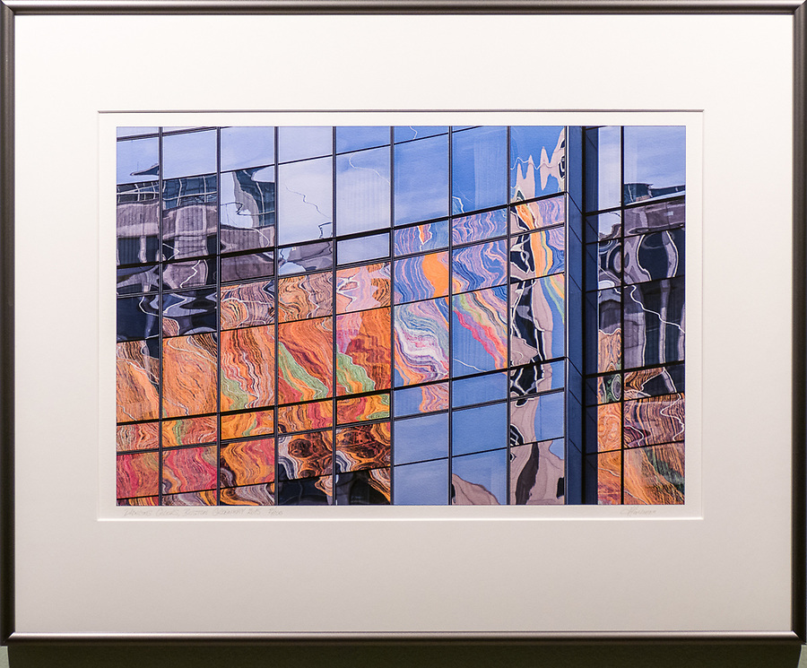 """Framed Size 22""""h x 30""""w, $625.<br /> Graphite Nielsen 15 metal frame<br /> (also available in 16""""h x 20""""w $385)"""