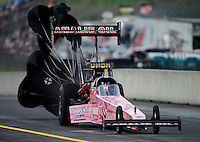 Oct. 6, 2012; Mohnton, PA, USA: NHRA top fuel dragster driver Terry McMillen during qualifying for the Auto Plus Nationals at Maple Grove Raceway. Mandatory Credit: Mark J. Rebilas-