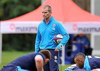 Bagshot, England. England Head Coach Stuart Lancaster looks on during the England training session held at Pennyhill Park on October 31, 2013 in Bagshot, England.
