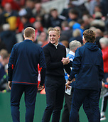 30th September 2017, Riverside Stadium, Middlesbrough, England; EFL Championship football, Middlesbrough versus Brentford; Garry Monk the Middlesbrough Manager and Dean Smith Manager of Brentford share a laugh after the 2-2 draw