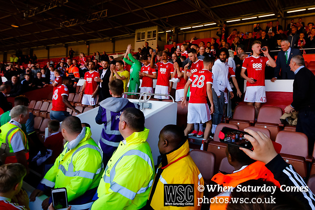 Nottingham Forest 3 Ipswich Town 0, 07/05/2017. City Ground, Championship. Forest players appear in the directors box to applaud the fans after the game between Nottingham Forest v Ipswich Town at the City Ground Nottingham in the SkyBet Championship. Photo by Paul Thompson.