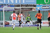 VOETBAL: EMMELOORD: Sportpark Ervenbos, 18-02-2012, Flevo Boys 1 - Drachtster Boys 1, Doelpunt Age Hains Boersma (FB) (2-0), Keeper Eelke Kooistra (DB), Eindstand 6-2, ©foto: Martin de Jong