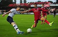 Preston North End's Marnick Vermijl under pressure from Accrington Stanley's Tom Dallison<br /> <br /> Photographer Kevin Barnes/CameraSport<br /> <br /> The Carabao Cup - Accrington Stanley v Preston North End - Tuesday 8th August 2017 - Crown Ground - Accrington<br />  <br /> World Copyright &copy; 2017 CameraSport. All rights reserved. 43 Linden Ave. Countesthorpe. Leicester. England. LE8 5PG - Tel: +44 (0) 116 277 4147 - admin@camerasport.com - www.camerasport.com