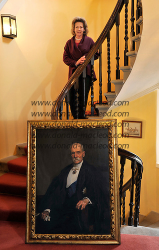 "The Blair Estate sale - Caroline Borwick with the portrait of Lord Frederick Roberts from whom the the phrase ""Bob's your Uncle is thought to have originated – picture by Donald MacLeod 21.2.12 www.donald-macleod.com clanmacleod@btinternet.com"