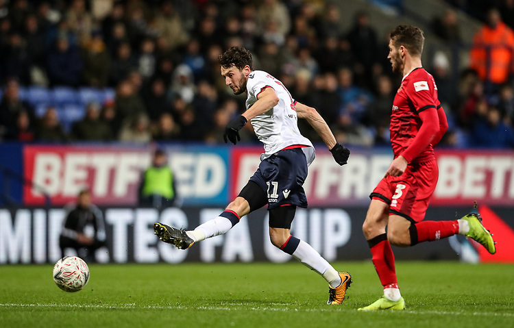 Bolton Wanderers' Will Buckley competing with Walsall's Luke Leahy<br /> <br /> Photographer Andrew Kearns/CameraSport<br /> <br /> Emirates FA Cup Third Round - Bolton Wanderers v Walsall - Saturday 5th January 2019 - University of Bolton Stadium - Bolton<br />  <br /> World Copyright © 2019 CameraSport. All rights reserved. 43 Linden Ave. Countesthorpe. Leicester. England. LE8 5PG - Tel: +44 (0) 116 277 4147 - admin@camerasport.com - www.camerasport.com