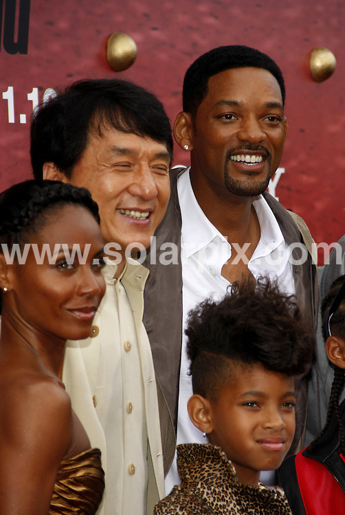 **ALL ROUND PICTURES FROM SOLARPIX.COM**.**SYNDICATION RIGHTS FOR UK, AUSTRALIA, DENMARK, PORTUGAL, S. AFRICA, SPAIN & DUBAI (U.A.E) & ASIA (EXCLUDING JAPAN) ONLY**.The Karate Kid Los Angeles Premiere - Arrivals, Mann Village Theater / Westwood, CA, USA,  07 June 2010.This pic: Jackie Chan, Jada Pinkett Smith, Will Smith and Willows Smith.JOB REF: 11422    PHZ gabber    DATE: 07_06_2010.**MUST CREDIT SOLARPIX.COM OR DOUBLE FEE WILL BE CHARGED**.**MUST NOTIFY SOLARPIX OF ONLINE USAGE**.**CALL US ON: +34 952 811 768 or LOW RATE FROM UK 0844 617 7637**