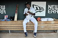 Tony Dibrell (8) of the Columbia Fireflies cools off in the dugout before a game against the Charleston RiverDogs in which he set a Fireflies single-season strikeout record of 138 on Tuesday, August 28, 2018, at Spirit Communications Park in Columbia, South Carolina. Columbia won, 11-2. (Tom Priddy/Four Seam Images)